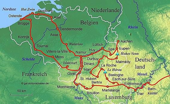 Motorradreise Ardennen - Geführte Motorradtouren - organisierter Motorradurlaub Veranstalter