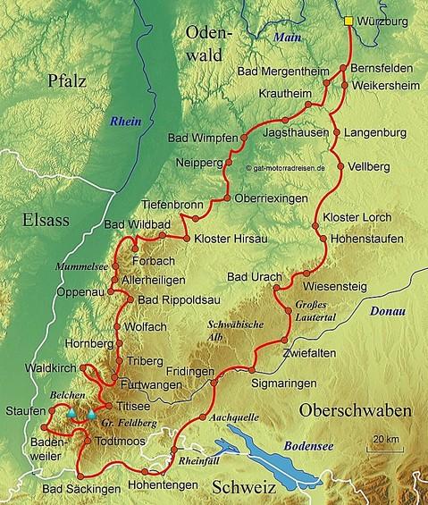 südschwarzwald karte Motorradreise Schwarzwald   Geführte Motorradtouren