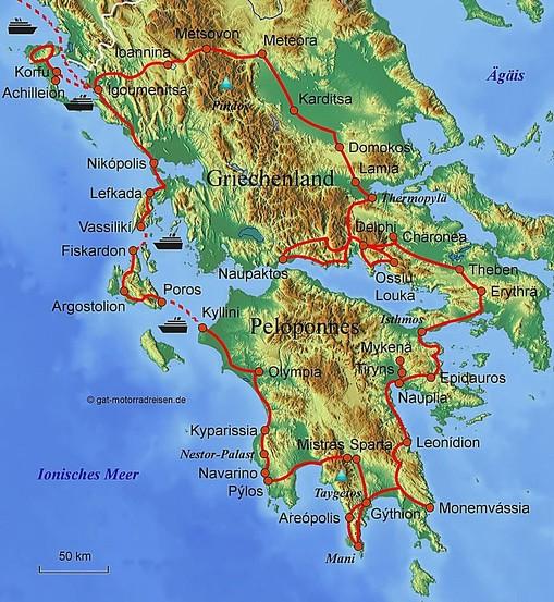 Griechenland Peloponnes Karte Deutsch.Motorradreise Griechenland Geführte Motorradtouren Organisierter